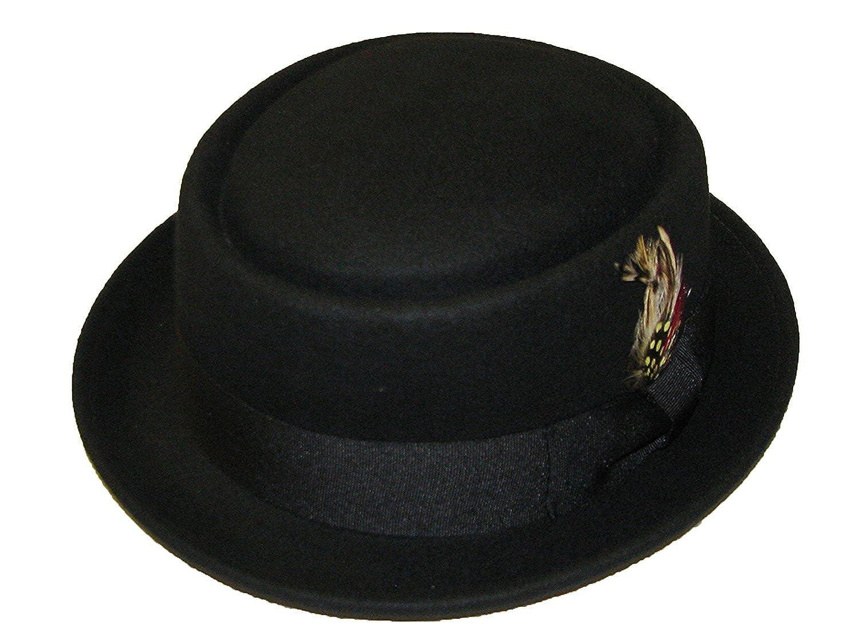 35e97e383b2 SUPERB 100% WOOL HAND MADE BLACK FELT PORK PIE TRILBY HAT  Amazon.co.uk   Clothing