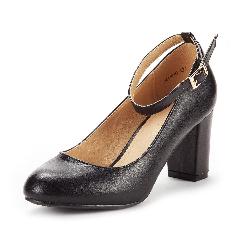 DREAM PAIRS Women's Demilee Black Pu High Chunky Heel Pump Shoes Size 8.5 B(M) US