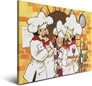 Yiastia_Minyi No Frame Fat Chefs Kitchen Art Waiters Cooks Wall Art Prints Modular Poster for Living Room Bedroom Home Decor Canvas,18x24 Inchs