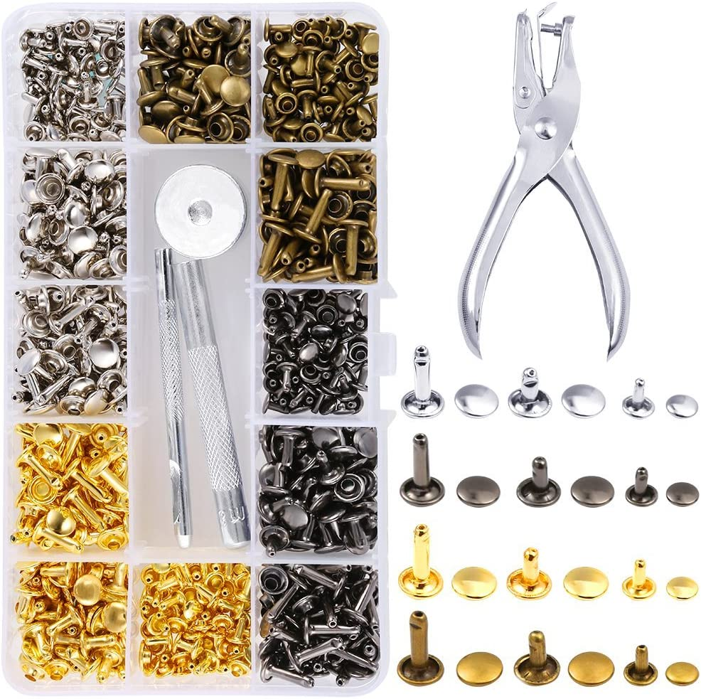 Leather Rivets Double Cap Tubular Metal Studs with Punch Plier Fixing Set