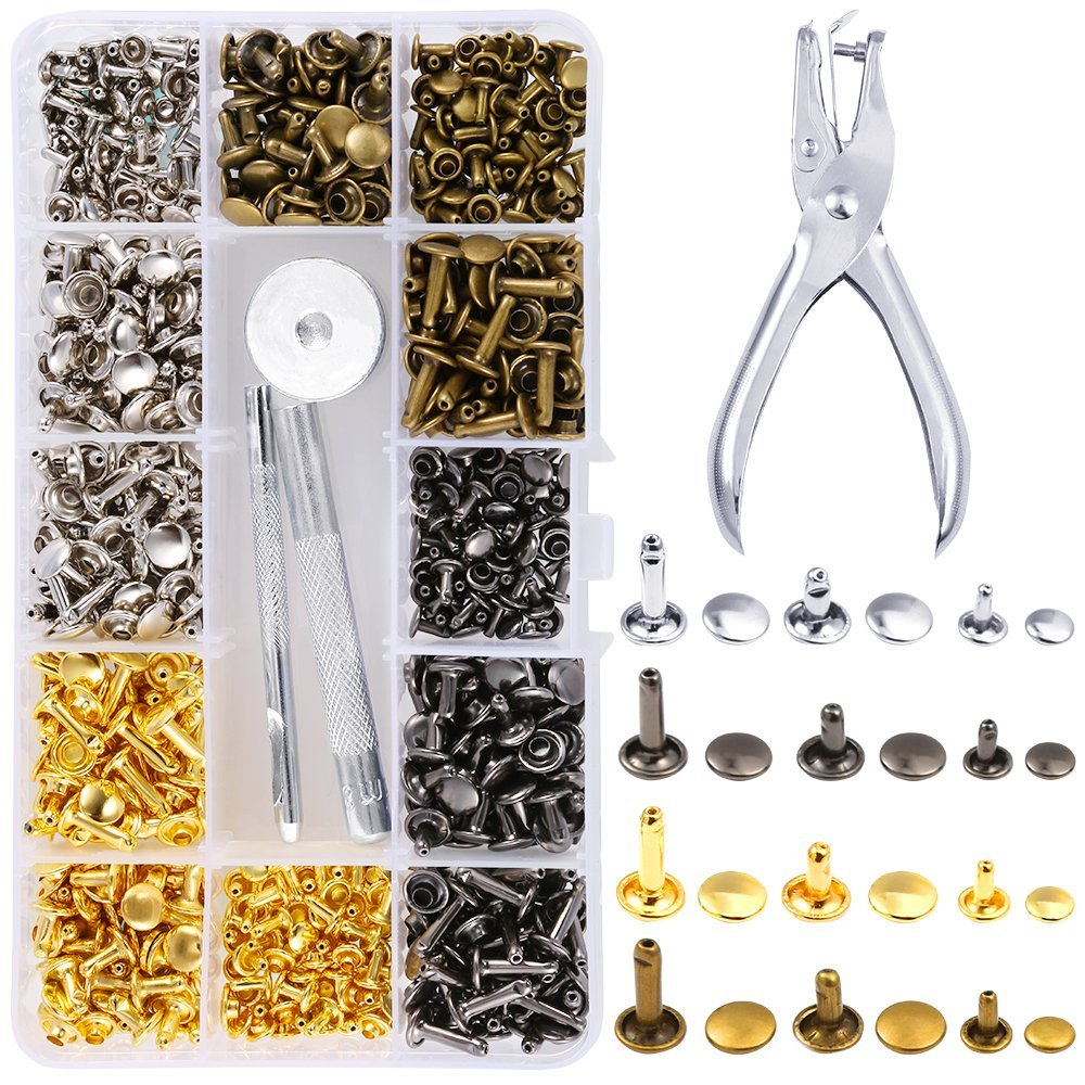 Caydo 360 Sets 3 Sizes Leather Rivets Double Cap Rivet Tubular Metal Studs with 4 Fixing Set Tools for DIY Leather Craft Gold, Silver and Bronze, Gunmetal 4 Colors