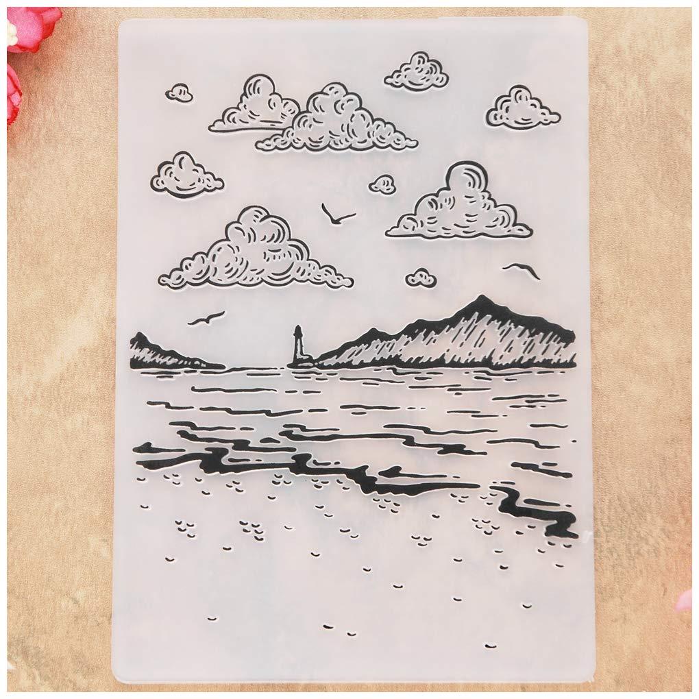 Carpetas de pl/ástico para hacer tarjetas KWELLAM Cloud Seagull Lighthouse Ocean /álbumes de recortes y otras manualidades de papel