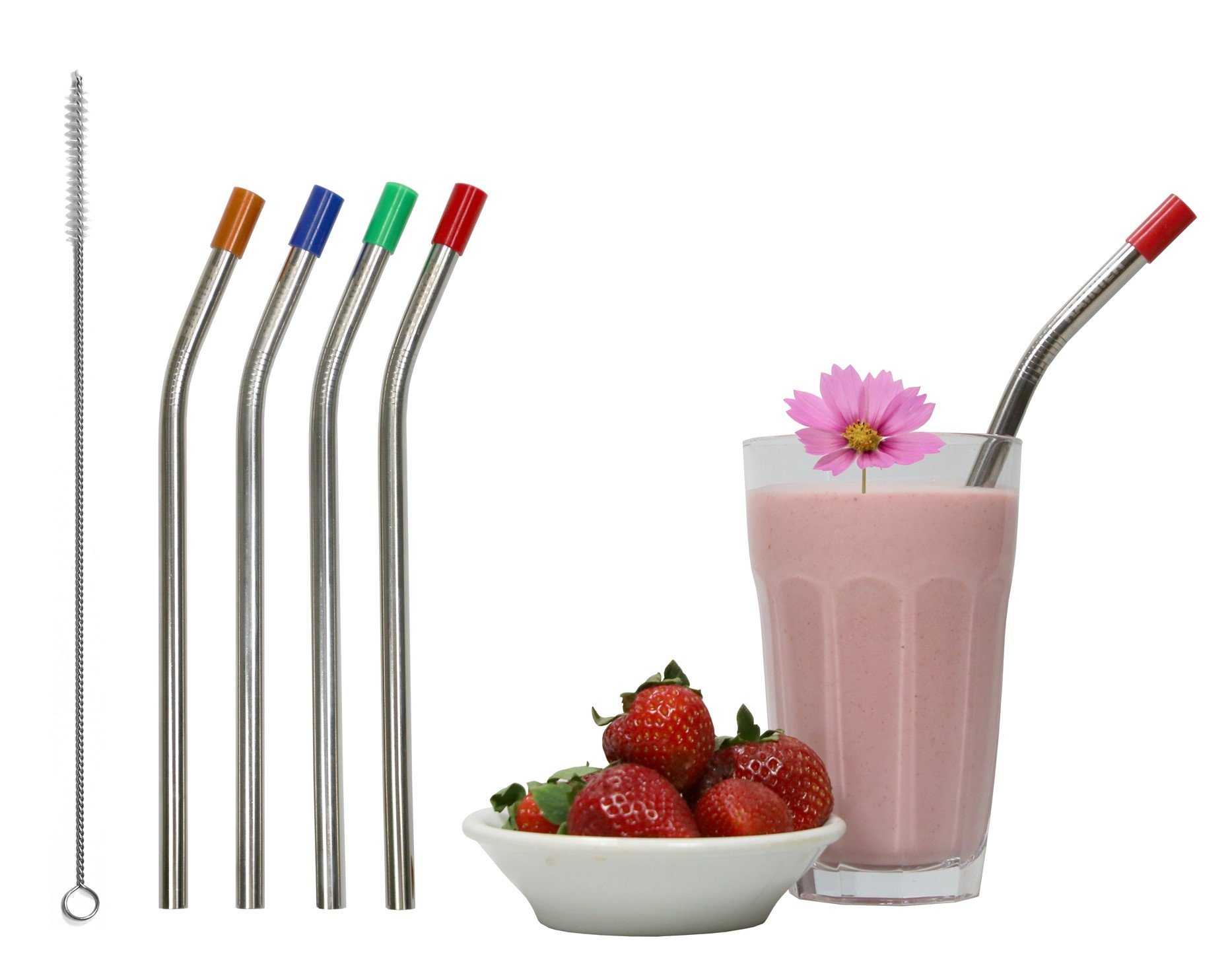 RAINIER Smoothie Drinking Straws | Extra Wide Reusable Stainless Steel Metal | Jumbo Size for Thick, Chunky, Frozen Drinks & Boba Tea | Set of 4 with Comfort Tips, Cleaning Brush (Angled, 3/8Wx8.5L)
