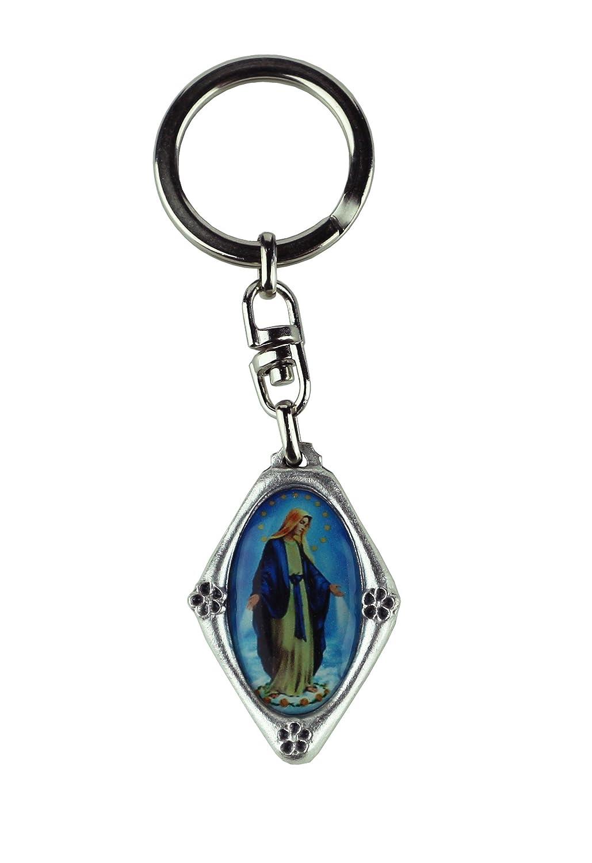 Portachiavi placcato argento con immagine Madonna Miracolosa