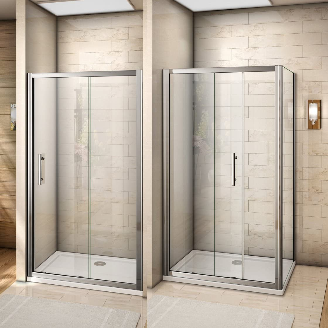 Cabina de ducha mamparas de baño corredera puerta cristal templado 120x70cm de Aica: Amazon.es: Bricolaje y herramientas
