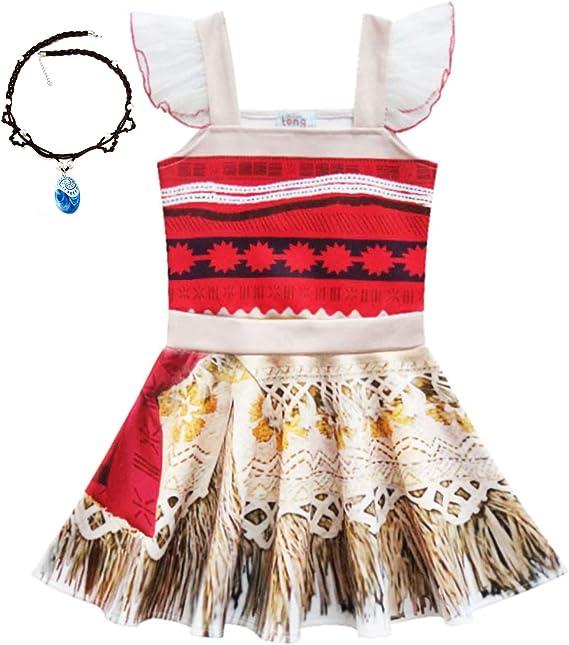 YOSICIL Disfraz Moana Vestido Vaiana Disfraz para niña Infantil ...