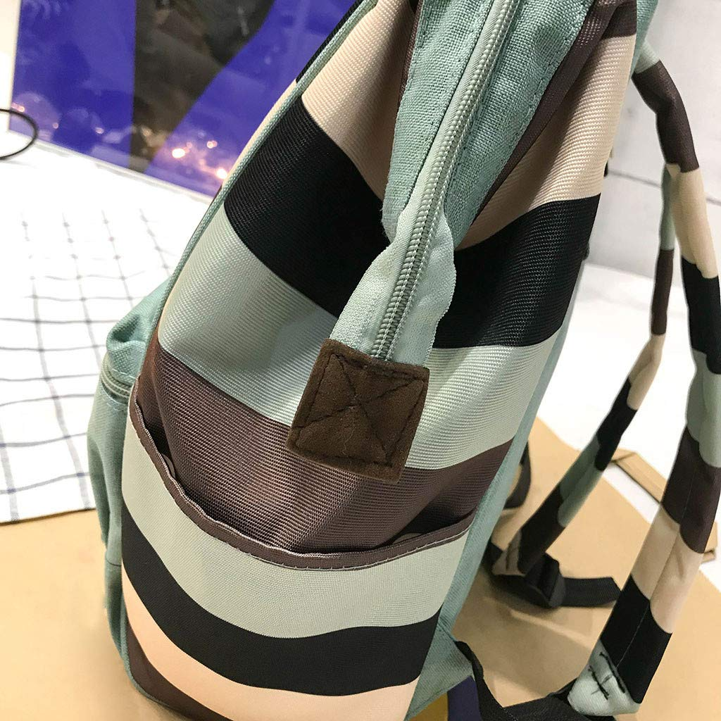 Backpack For Women Large-capacity Canvas Student Fashion Clip Stripe Contrast Color Green