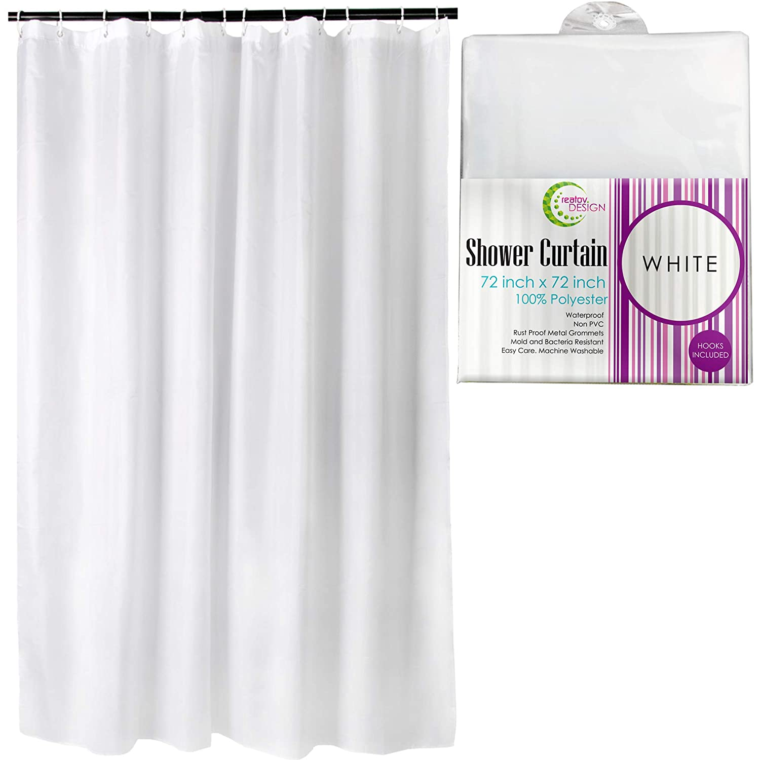 Mildew Resistant Fabric Shower Curtain - 72x72 White polyester Curtain for Bathroom - Waterproof Odorless Eco Friendly Anti Bacterial - Heavy Duty Metal Grommets - Creatov Design SYNCHKG109565