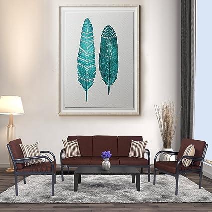 FurnitureKraft Vienna Metal Sofa Set 3-1-1 with Brown Mattress