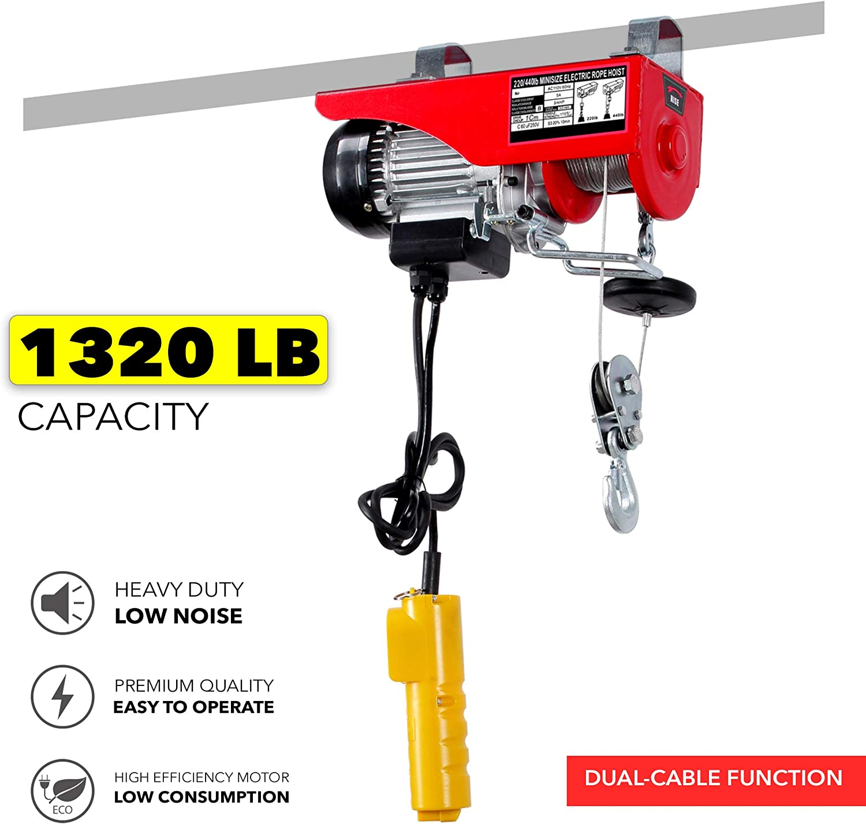 1500lb Electric Overhead Motor Winch Hoist Lift Garage Crane w// Remote Control