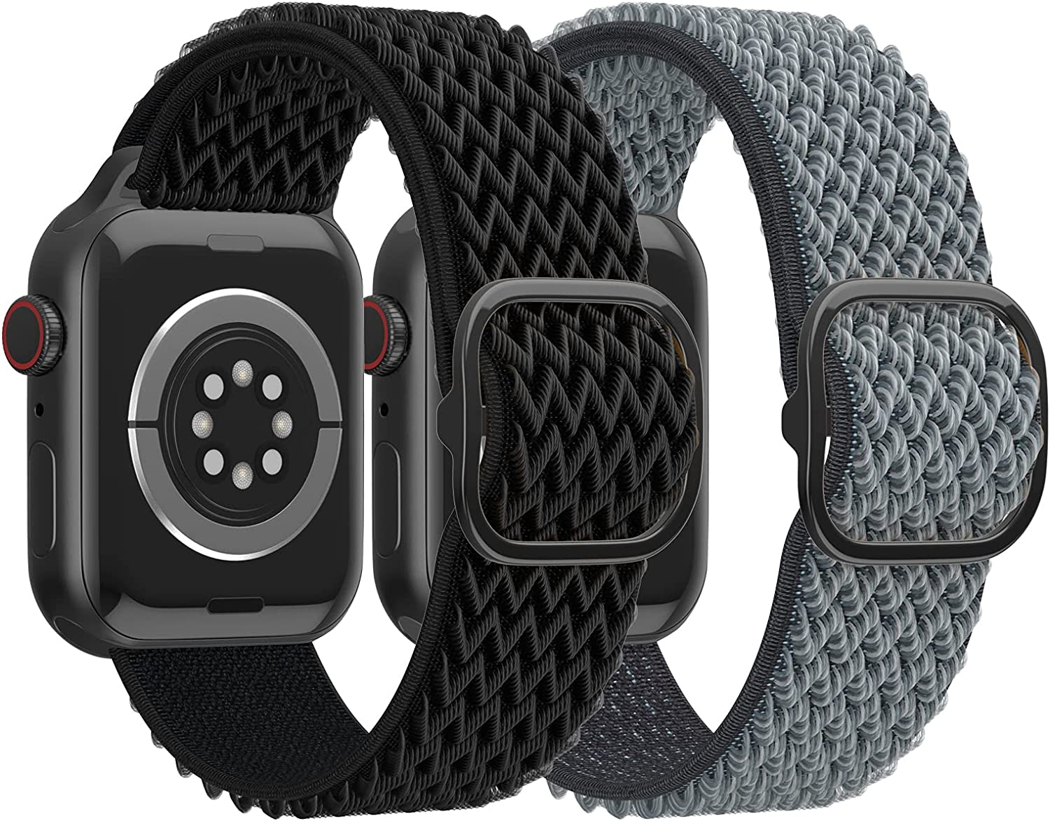 SKYLET Stretchy Solo Loop Bands Compatible with Apple Watch 38mm 40mm 42mm 44mm Series 6/5/4/3/2/1/se Women Men, 2 Pack Sport Nylon Adjustable Braided Elastic Replacement iWatch Straps