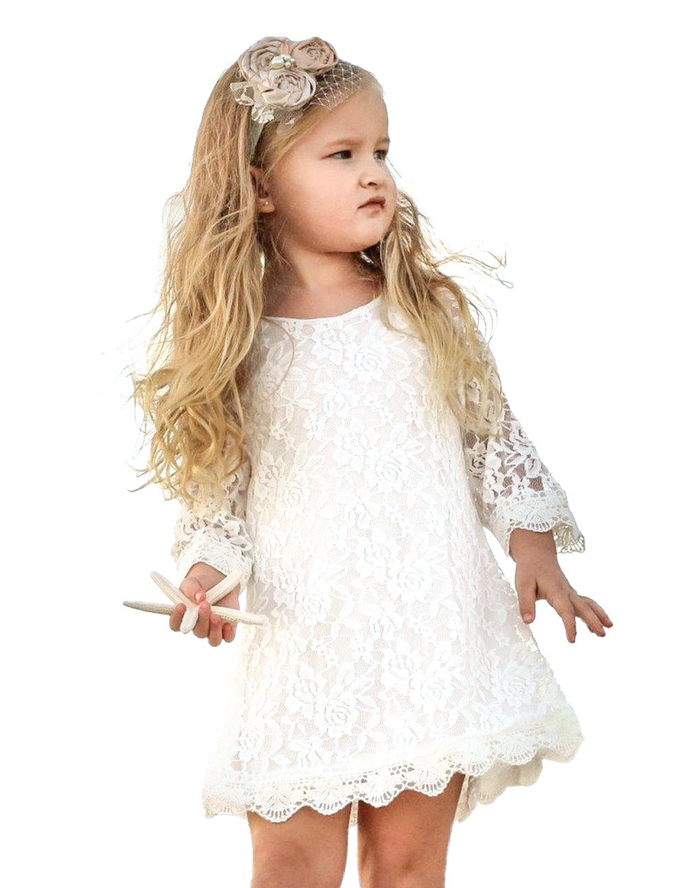 Tkiames Girls Easter Flower Dress Casual Crew Neck Floral A-Line Party Dress (2T(2-3 Years), White)