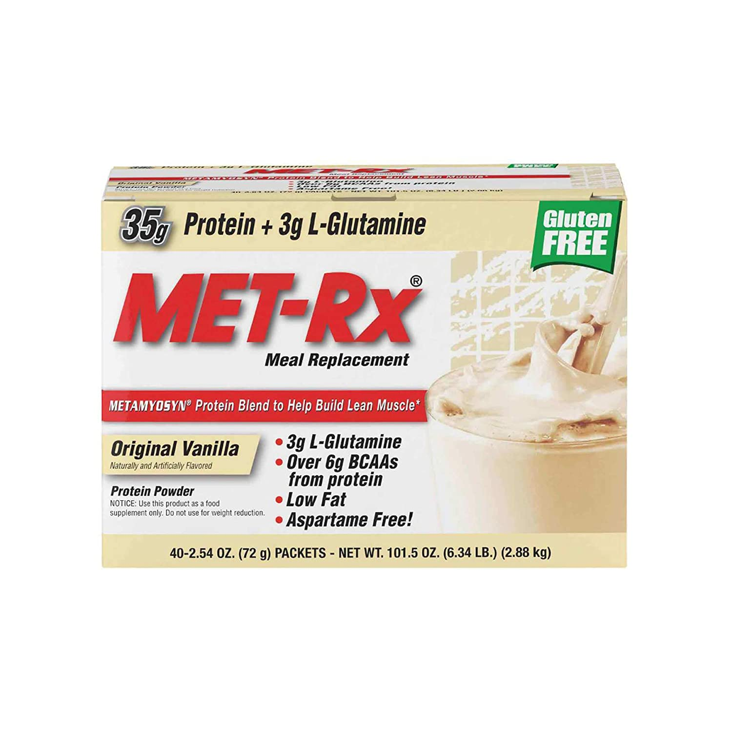 MET-Rx Original Whey Protein Powder, Great for Meal Replacement Shakes, Low Carb, Gluten Free, Original Vanilla, 2.54 oz. Packets, 40 Count