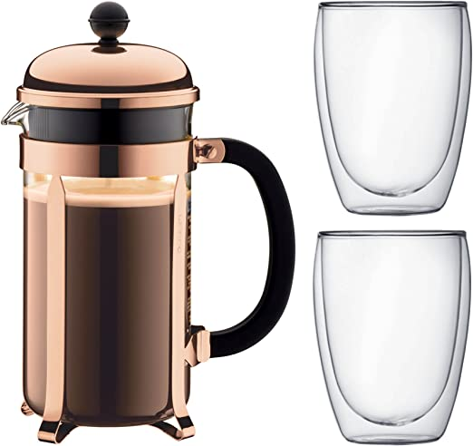 Bodum - K1928-18-1 - Chambord - Cafetera 8 tazas - 1.0 l + 2 vasos ...