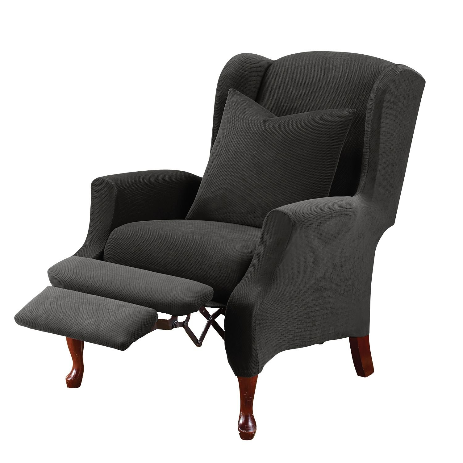 Sure Fit Stretch Pique - Reclining Wing Chair Slipcover ...