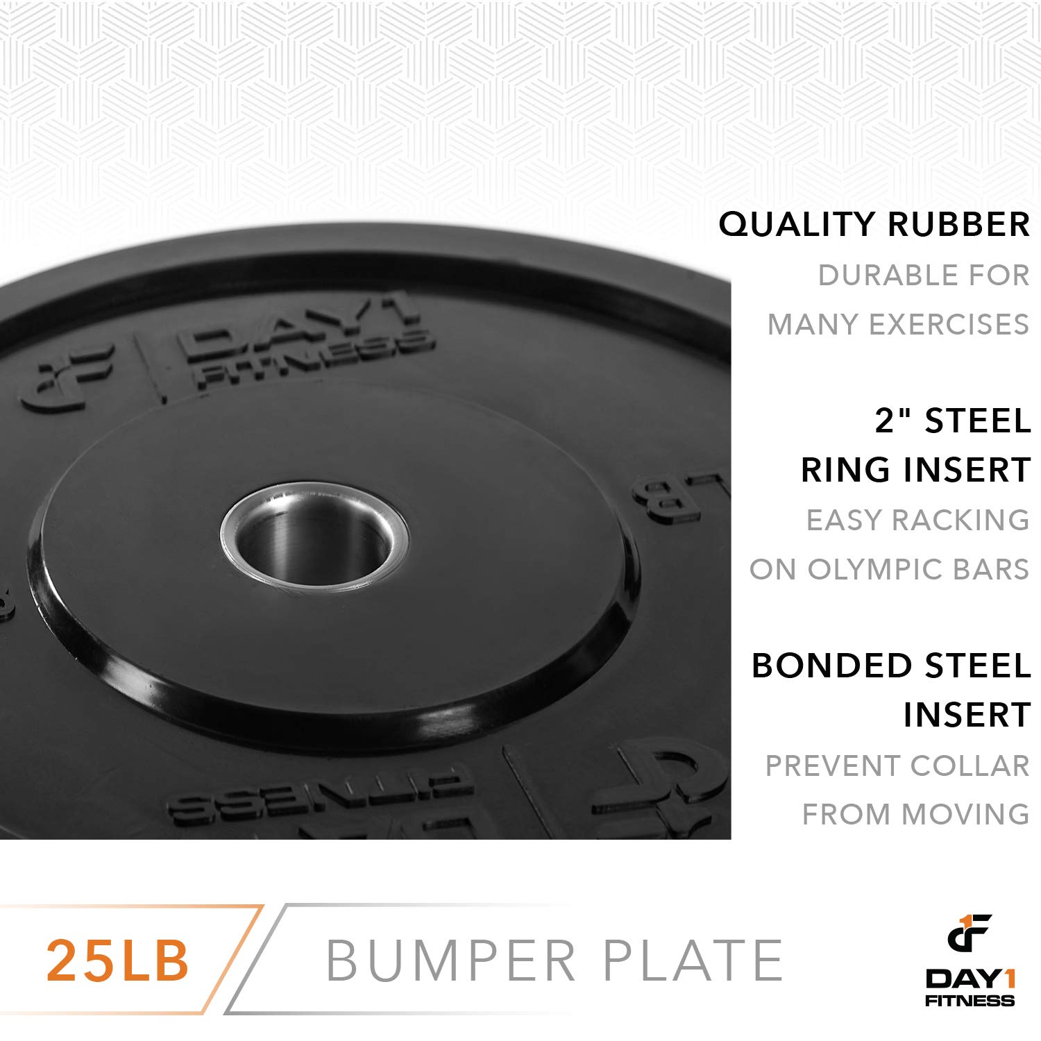 "Day 1 Fitness Olympic Bumper Weighted Plate 2"" for Barbells, Bars – 25 lb Single Plate - Shock-Absorbing, Minimal Bounce Steel Weights with Bumpers for Lifting, Strength Training, and Working Out by Day 1 Fitness (Image #5)"