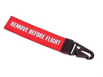 REMOVE BEFORE FLIGHT ® Llavero con pitorro de Clip de mosquetón • Rojo/Negro • inscripciones Weisse • Aprox. 17 x 3,0 cm • RBF de 003 • Original EU ...