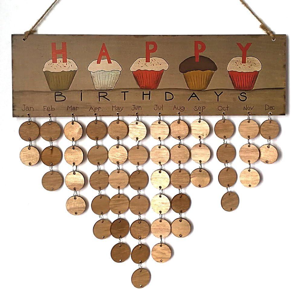 VLUNT Hanging Rappel Bricolage En Bois Calendrier Anniversaire Rappel Plaque M/émo Calendrier D/écor /à La Maison Pour Le Bureau Du Club /à Domicile