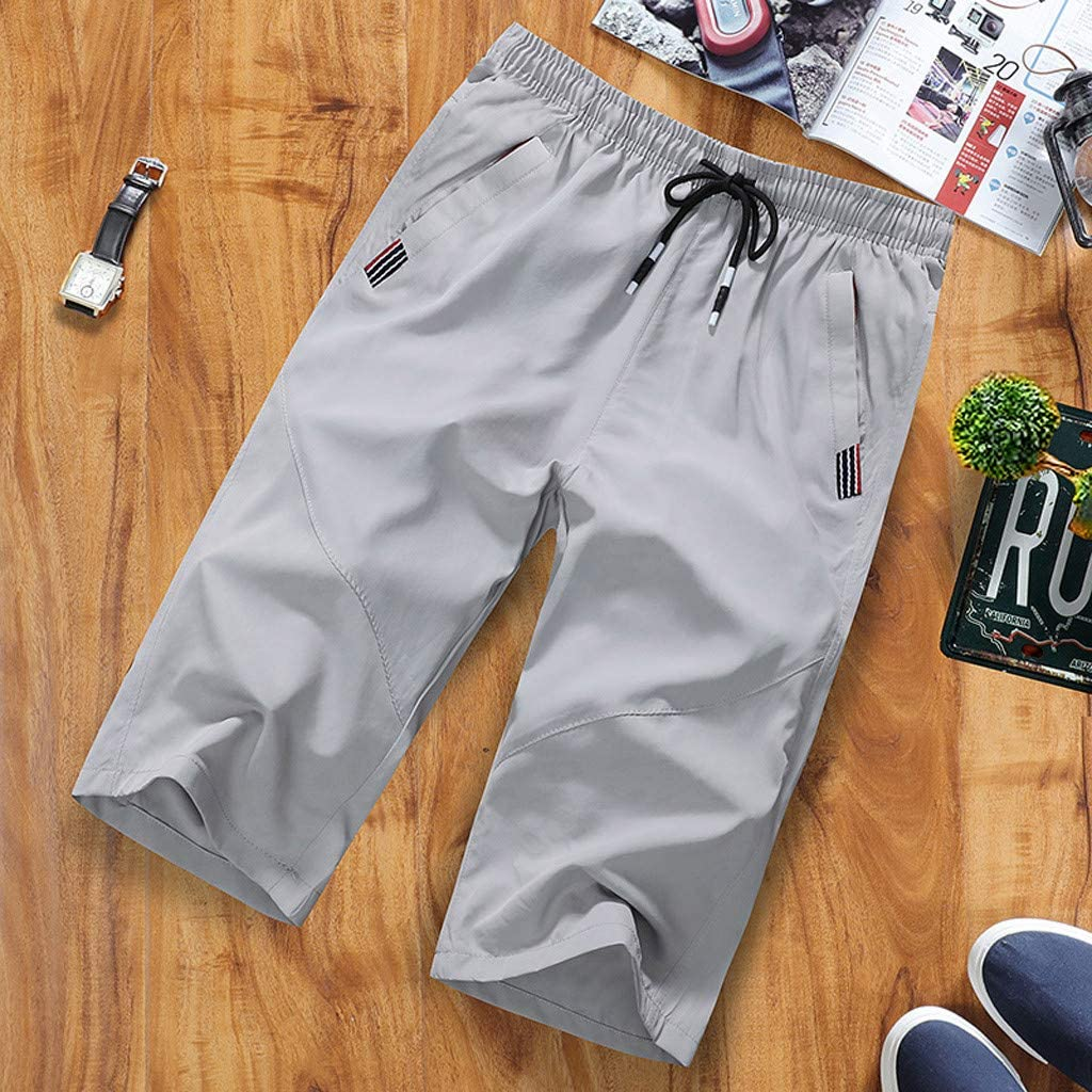 Mens Capris Shorts 3//4 Length Elasticated Waist Casual Summer Outdoor Sports Activity Hiking Short Sweat Pants JoyJay Mens Shorts with Zip Pocke