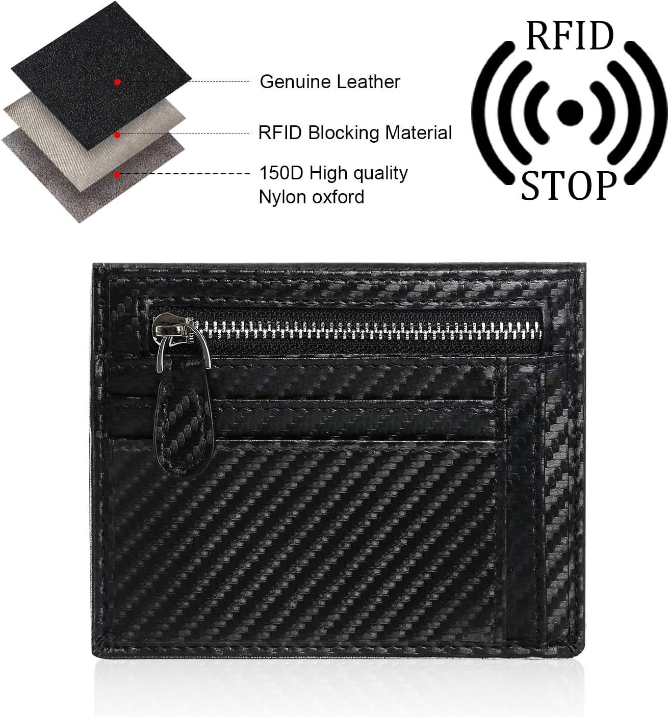 1 Compartiment /& 12 Emplacements pour Cartes, 1 Trousseau Inclus - Noir flintronic Porte-Carte de Cr/édit Portefeuille en Fibre de Carbone Porte-Cartes avec RFID