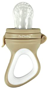 RaZbaby Baby Fruit Feeder/Food Feeder Pacifier, Infant Teething Toy Teether 6M+, Add Baby's Favorite Frozen Fruit or Fresh Food for Teething Relief, Silicone Pouch/Nipple, BPA Free, Tan