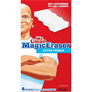 Mr. Clean Magic Eraser Extra Power Household Cleaning Pads, 4 count , Looks Like A Sponge, Cleans Like Magic.