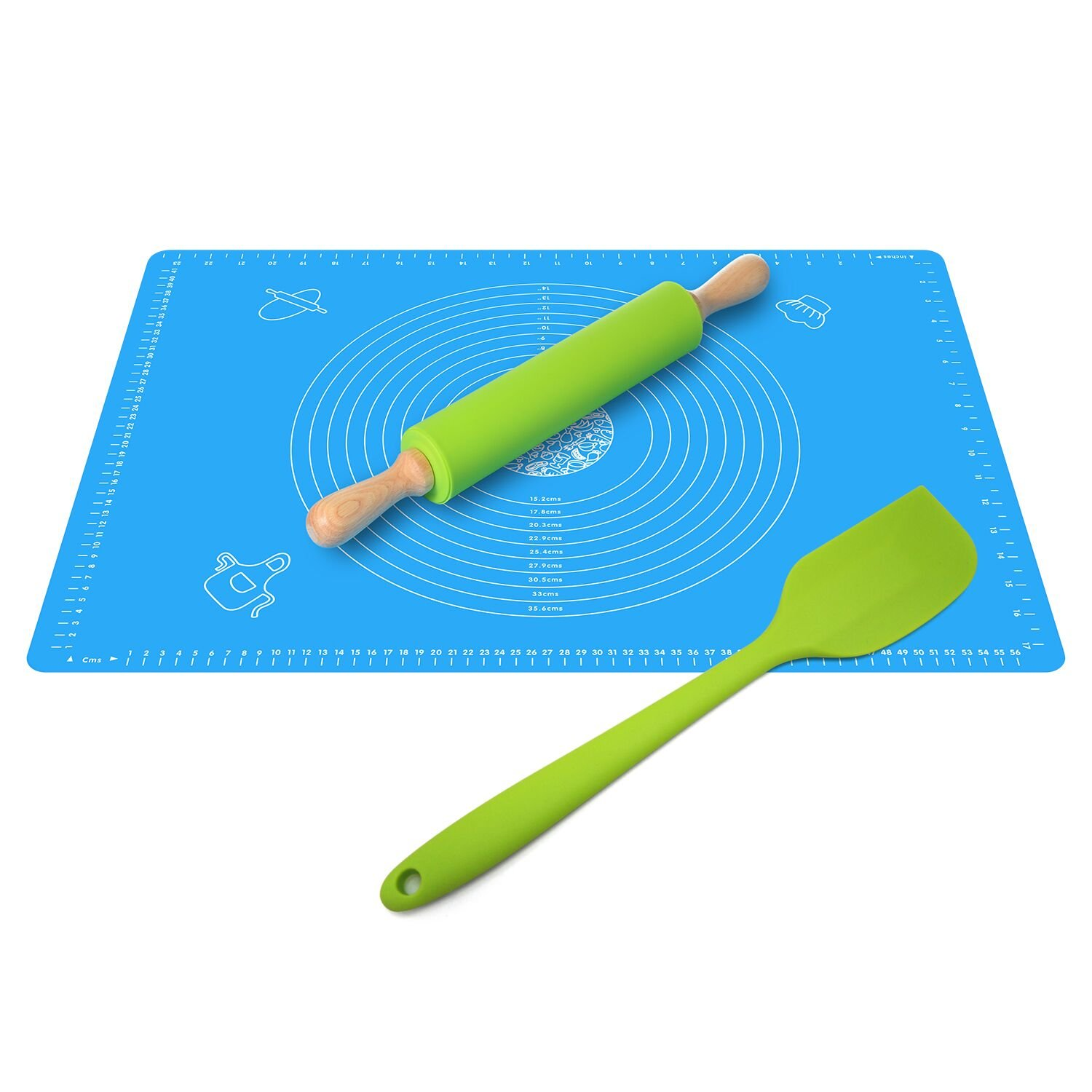 Ganoteck Non-Stick Silicone Rolling Pin &X-Large Silicone Pastry Mat ''25 X 17'' a free Silicone Spatula, Rolling Pin, Non-stick Silicone Dough Rollers Set with Measurements Kneading Pastry Mat