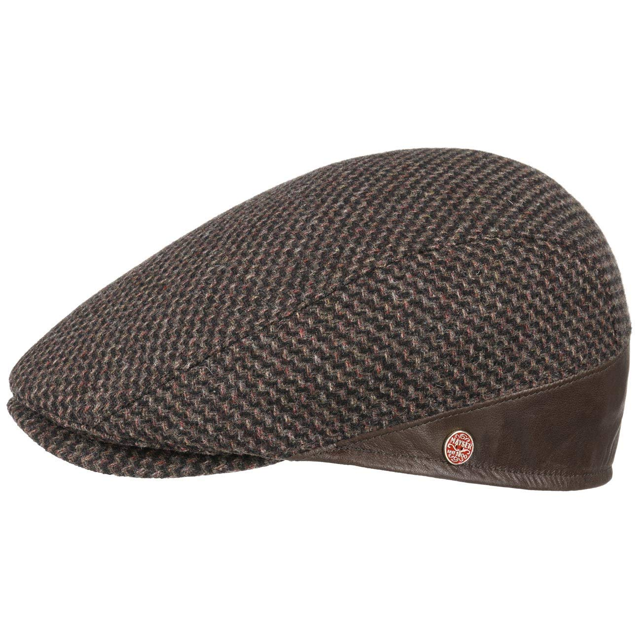Made in The EU Mayser Delian Wool Flat Cap with Leather Men