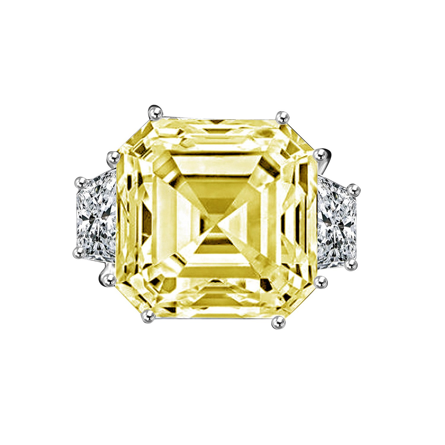 Diamond Veneer - 12Ct. Asscher Cut Center Set With Double Sided Baguettes Vintage Ring Simulated Diamond (Canary, 6)