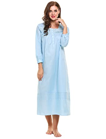 c0e3319bbc MAXMODA Womens Nightgown Long Sleeve Cotton Pajamas Victorian Sleepwear  Shirt Dress S-XXL at Amazon Women s Clothing store