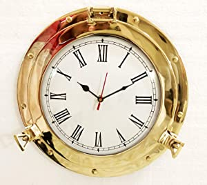 "12"" Antique Marine Brass Ship Porthole Analog Clock Nautical Wall Clock Home Decor"
