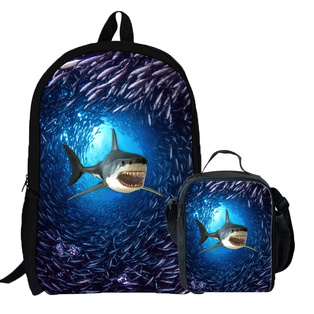Coloranimal Unique Blue Sea World 3d動物パターン子供大人ランチバッグ K-C0307C+G B07DPCM5JB Shark Backpack+Lunch Bag