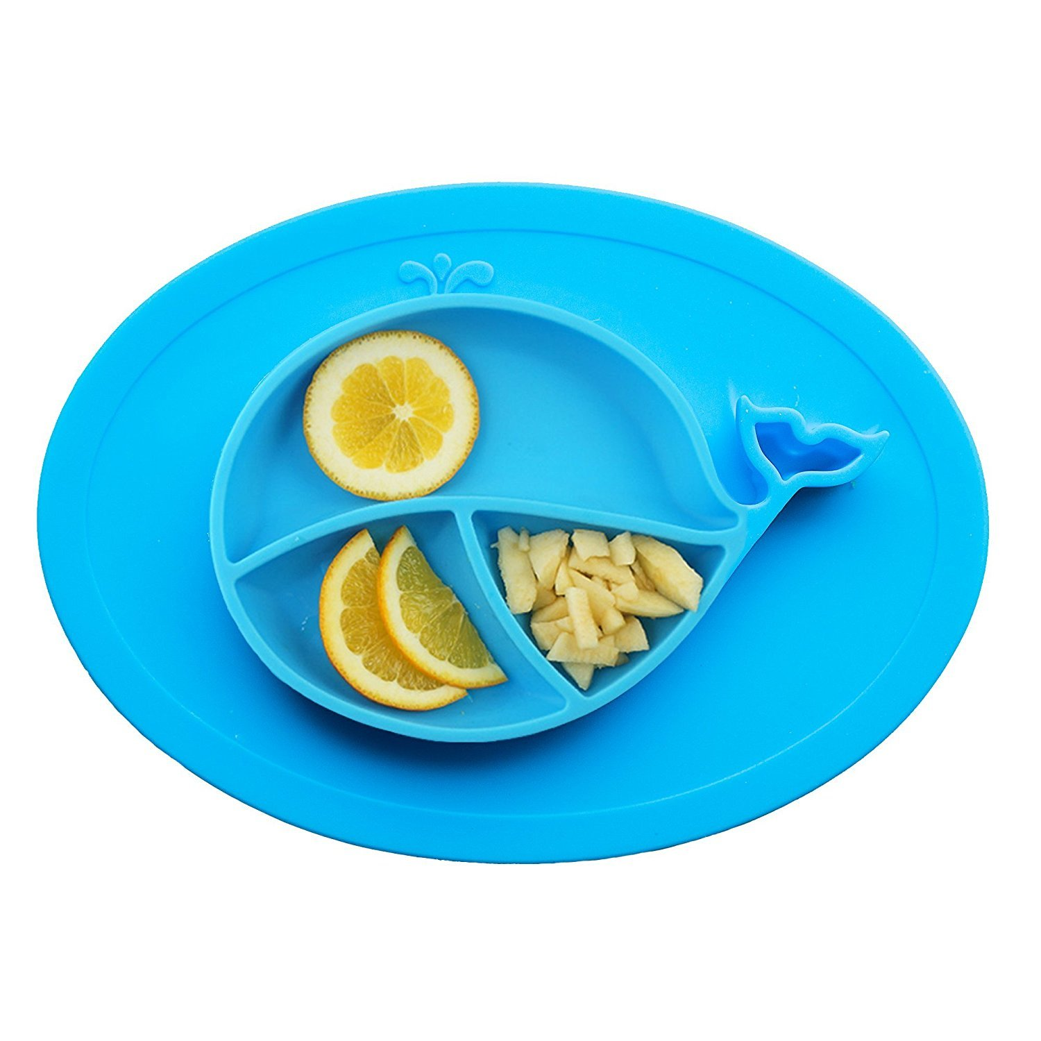 Silicon Suction Placemat and Plate for Kids, Toddlers, Children, and Babies. Perfect for feeding in a highchair, BPA Free, Built in Bowl (Blue)