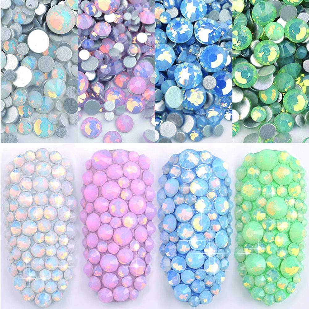 DAODER 4pack Sparkly Opal Rhinestones for Nails 3D Nail Art Rhinestones Kit Crystal Diamond Rhinestones and Charms Nail Decoration Flatback Gems Stones Pink White Blue Green Nail Jewels Crafts DIY by DAODER