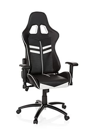 hjh OFFICE 729200 Silla Gaming League Pro Piel sintética Negro/Blanco Silla Escritorio: Amazon.es: Hogar