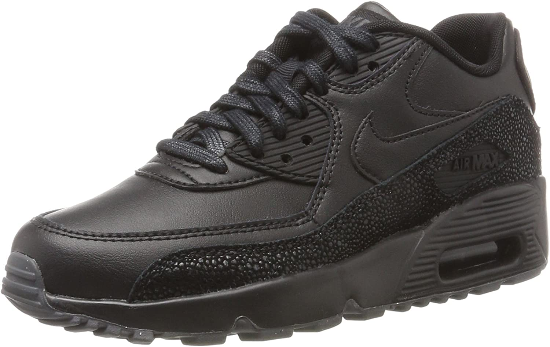 NIKE Youth Air Max 90 SE Black Dark Grey Leather Trainers 40 EU