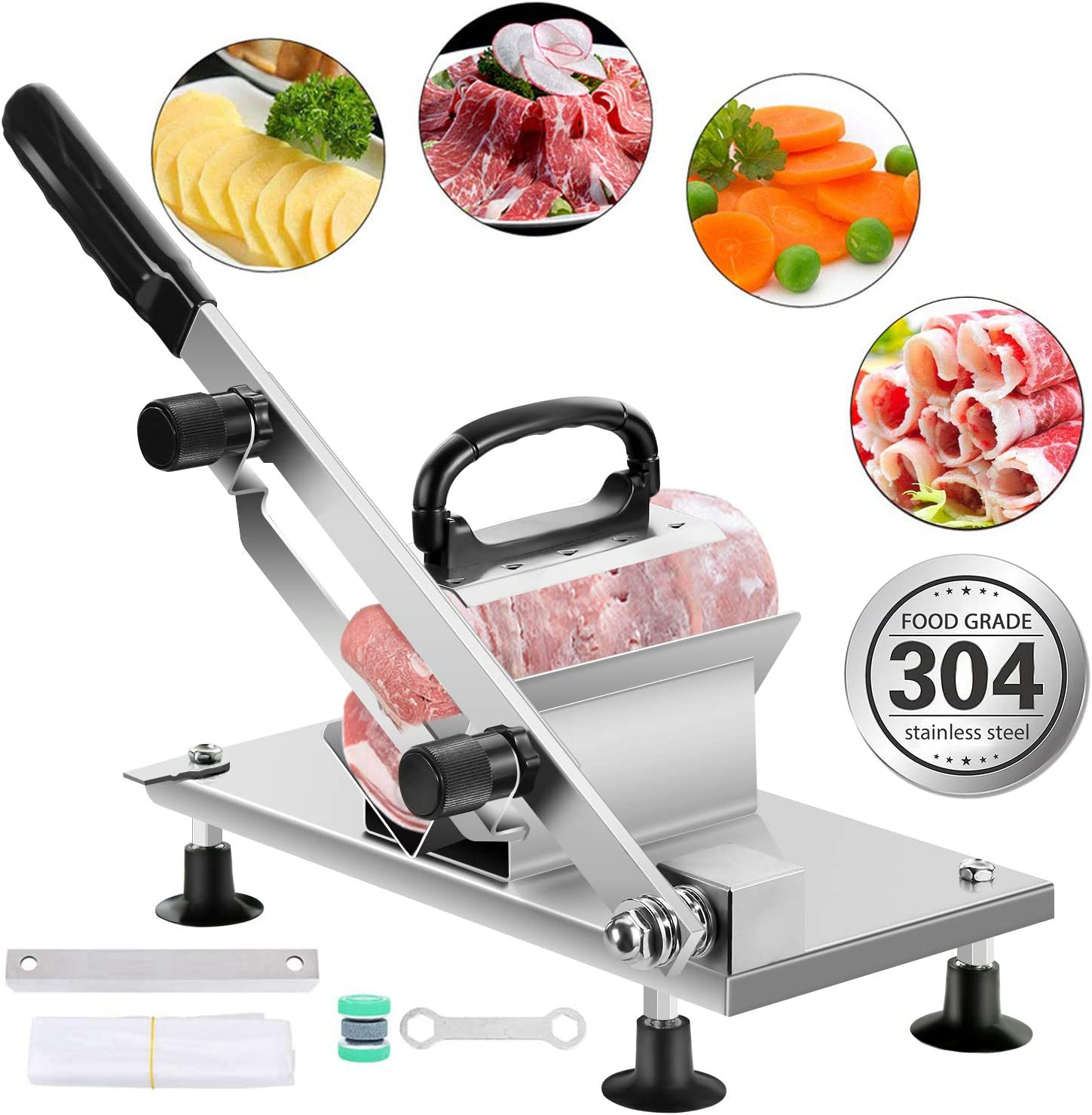 aingycy Frozen Meat Slicer Hand Slicing Machine Stainless Steel Frozen Beef Mutton Bacon Meat cutter Vegetable Fruit meat cleaver for Home Kitchen and Commercial Use (Sliver)