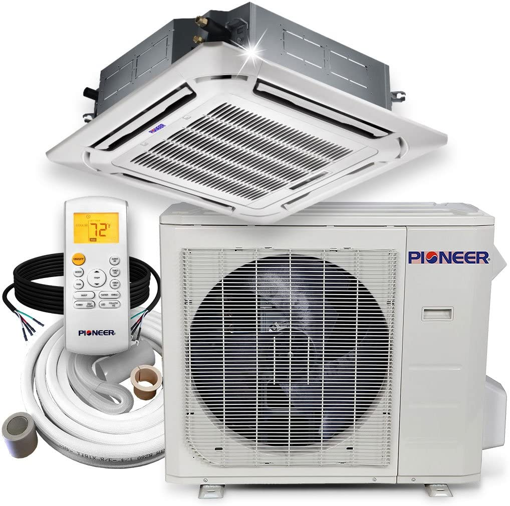 Pioneer Ceiling Cassette Split Ductless Inverter+ Heat Pump System Set, 24000 BTU