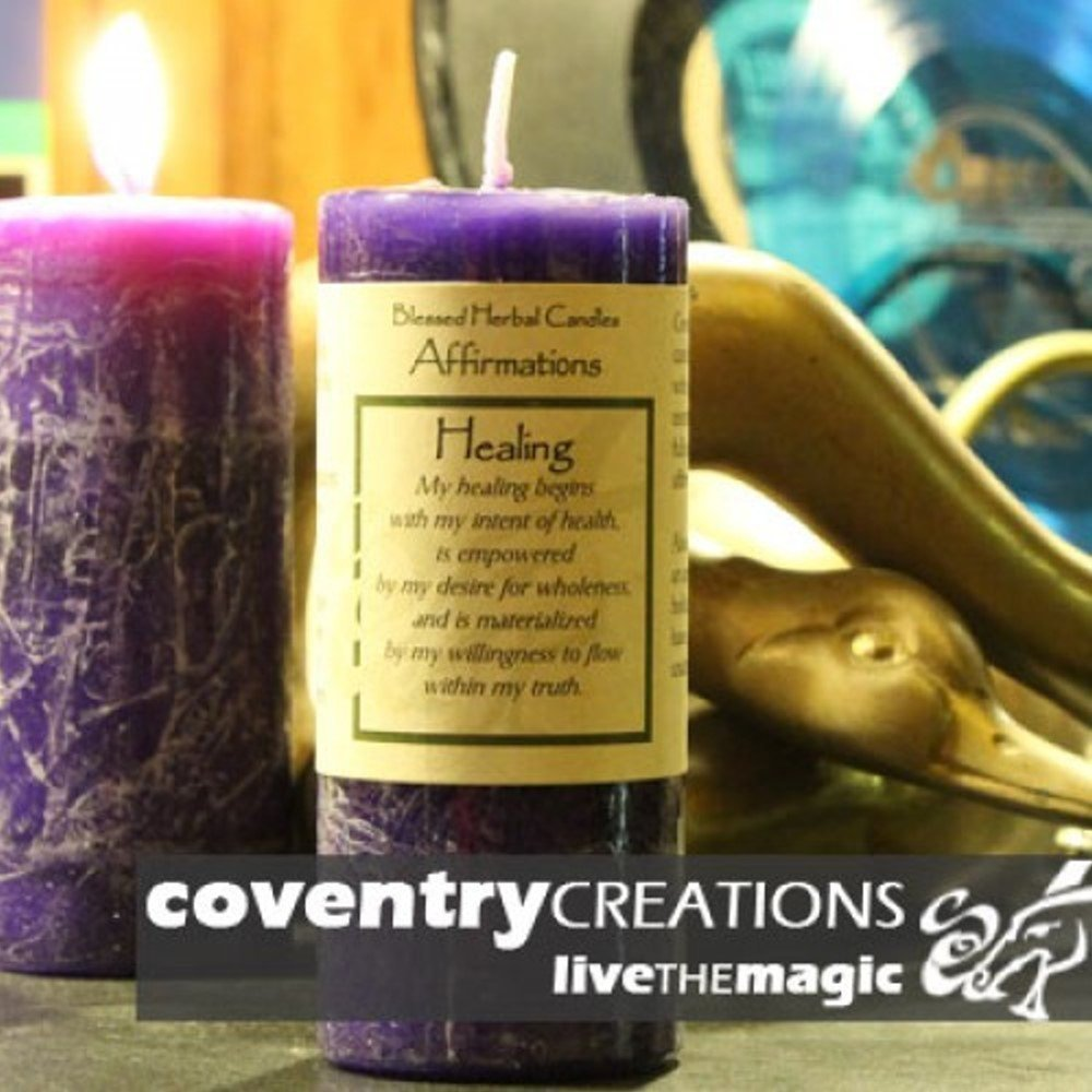 Coventry Creations Healing Affirmation Herbal Pillar Spell Candle AF-HE