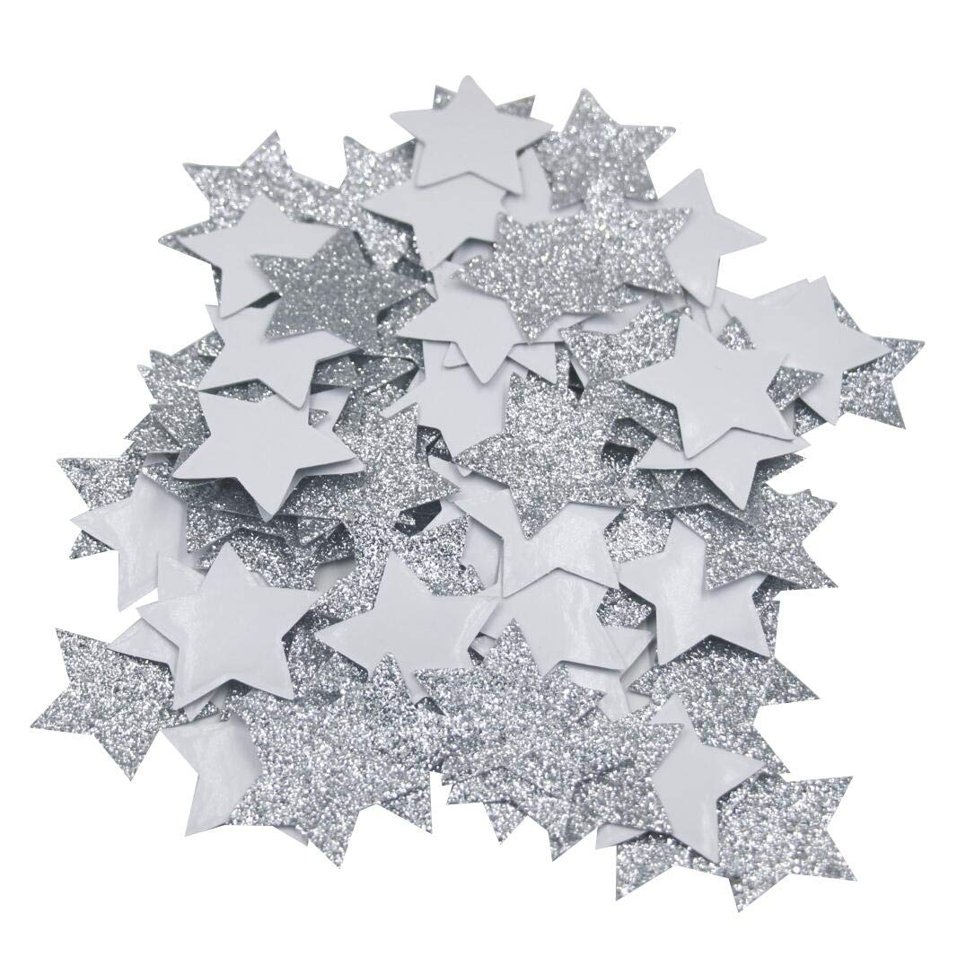 Mybbshower 1.5 inch Silver Glitter Adhesive Star Favors Stickers for New Year Star Decorations Envelope Seals Pack of 150 by Mybbshower
