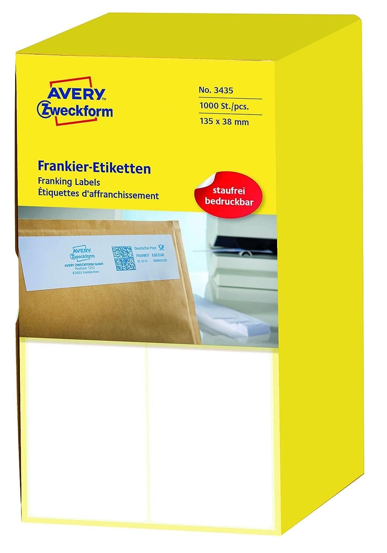 AVERY AVERY AVERY Zweckform 3434 Frankier-Etiketten (Papier matt, 1.000 Etiketten, 128 x 38 mm) 1 Pack weiß B000KJOVYC | Gemäßigten Kosten  e0b681