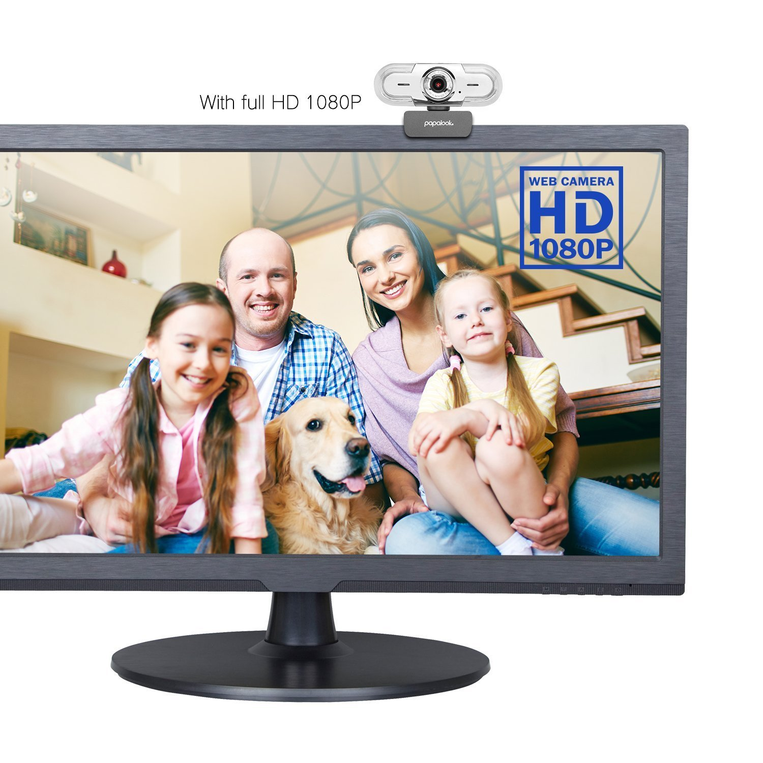 PAPALOOK 1080P HD Webcam, USB PC Computer Camera PA452 PRO Web Camera, Built-in Mic for Video Skype YouTube Compatible with Windows 7/8/10 by papalook (Image #3)