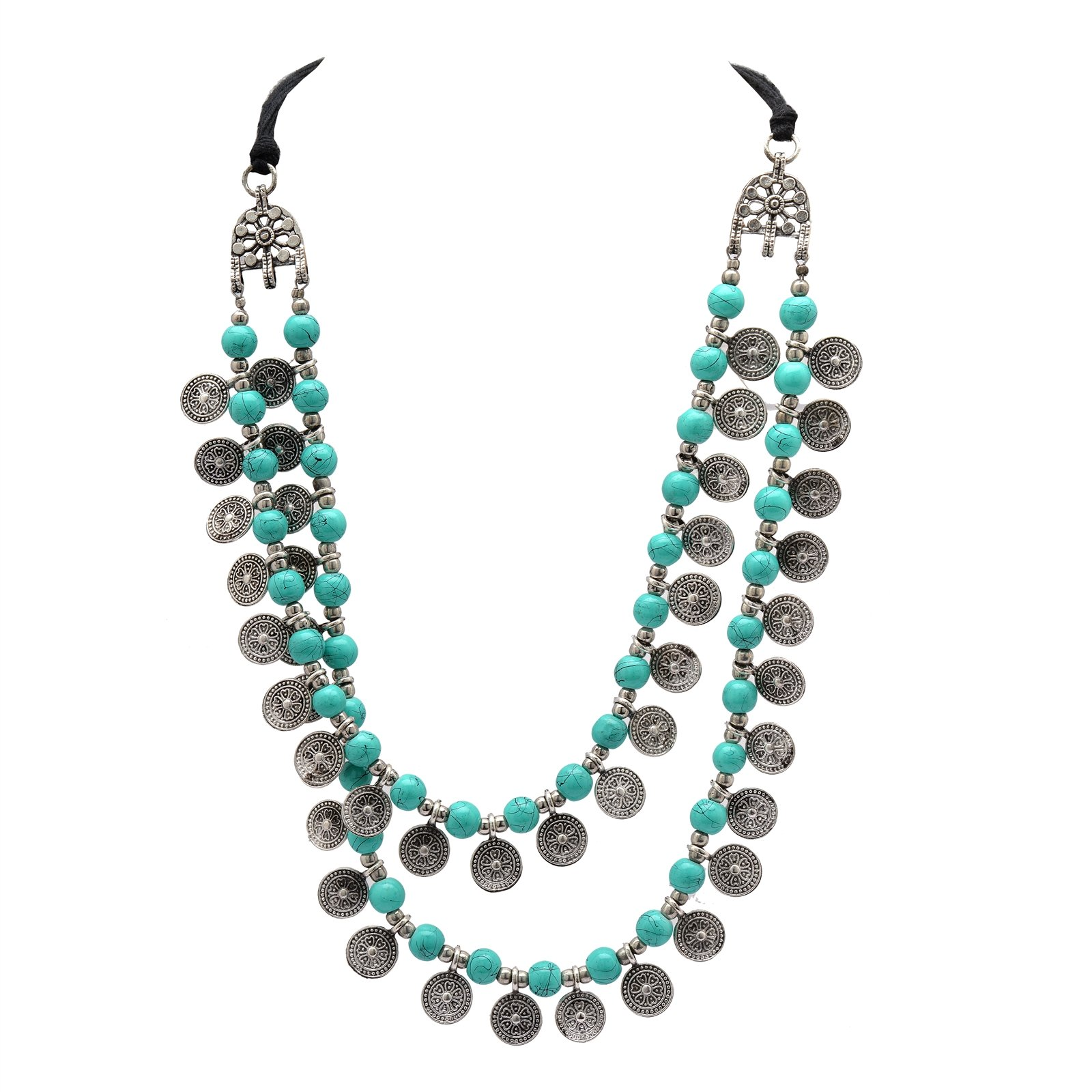 Zephyrr Fashion Jewellery Necklace German Silver Multi Strand Glass Beaded Coin Design for Girls and Women