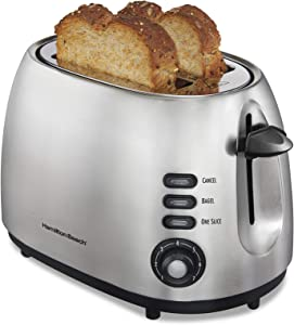 Hamilton Beach 22220 Toaster with Bagel & Defrost Settings, Boost, Slide-Out Crumb Tray Extra Wide Slot, 2 Slice, Sure Toast