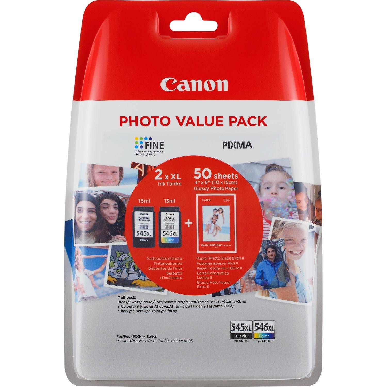 Canon PG-545XL/CL-546XL Set di 2 cartuccie d'inchiostro XL e carta fotografica 2448528