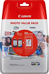 Canon PG-545XL+CL-546XL Valuepack de tinta original BK XL+Tricolor XL (GP-501 50 sheets) para Impresora de Inyeccion de tinta Pixma TS3150,3151-MG2450,2550,2550S,2555S,2950,3050,3051,3052,3053-IP2850