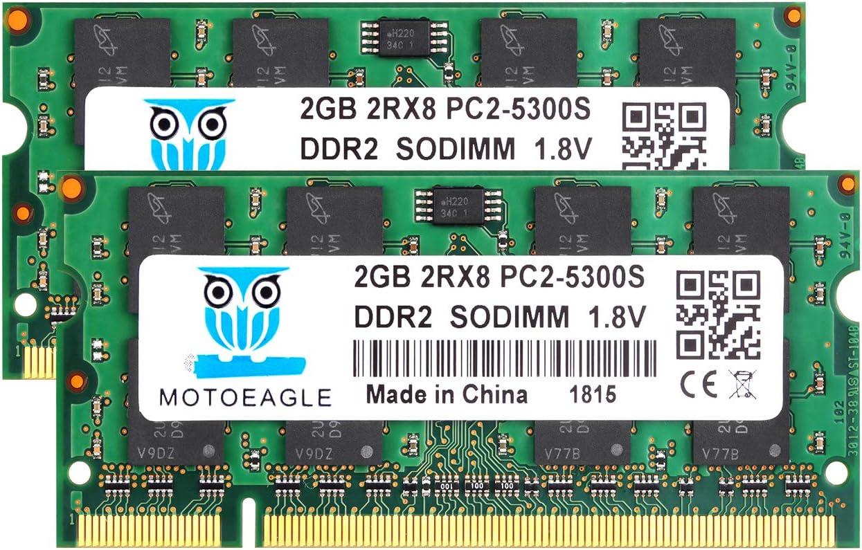 DDR2 667 PC2-5300 SODIMM RAM 4GB Kit (2GBX2), Motoeagle PC2-5300S CL5 200-Pin Non-ECC Unbuffered Notebook Laptop Memory Modules