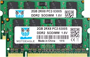 DDR2 667 PC2-5300 SODIMM RAM 4GB Kit (2GBX2), Motoeagle PC2-5300S CL5 200-Pin Non-ECC Unbuffered Notebook Laptop Memory Modules