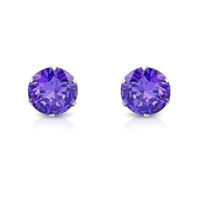 Pure316 Womens 3mm 6 Prong Round Stud Earrings w// Purple CZ in 316L Stainless Steel JK-XRY563