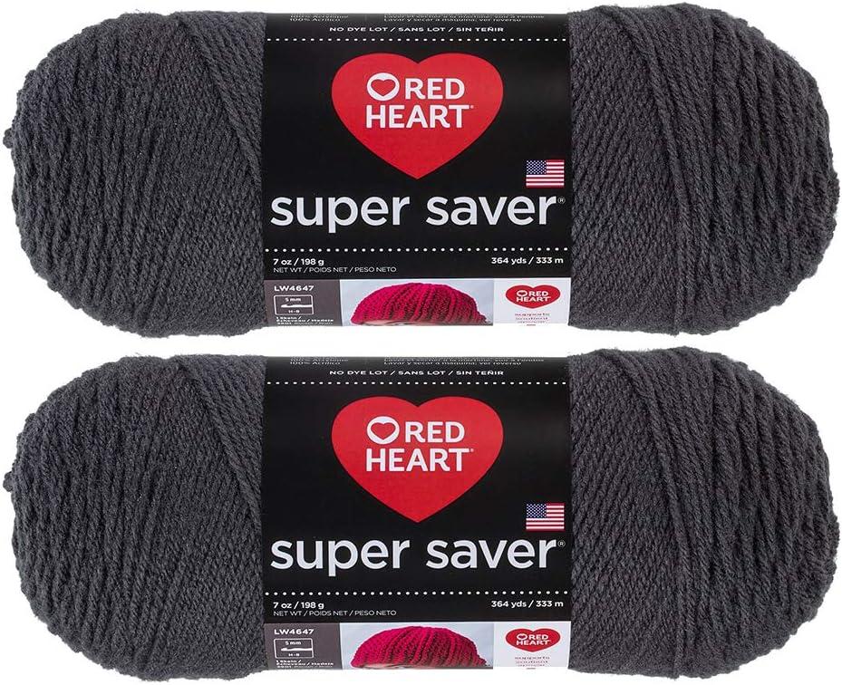 Bulk Buy: Red Heart Super Saver (2-pack) (Charcoal, 7 oz each skein)